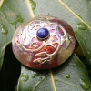 round gothic brooch with lapis lazuli