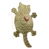 Flat fat cat brooch with heart