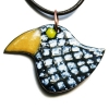 Black and white enamel bird pendant