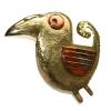 curly tailed bird brooch